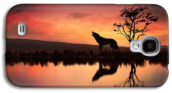 Wolf Digital Art Galaxy S4 Cases - The Wolf at Sunset Galaxy S4 Case by Jennifer Woodward
