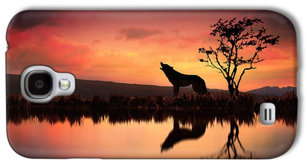 Wolves Digital Galaxy S4 Cases - The Wolf at Sunset Galaxy S4 Case by Jennifer Woodward