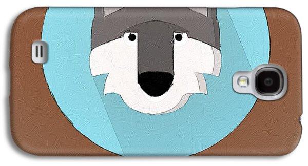 Wolves Digital Galaxy S4 Cases - The Wolf Cute Portrait Galaxy S4 Case by Florian Rodarte