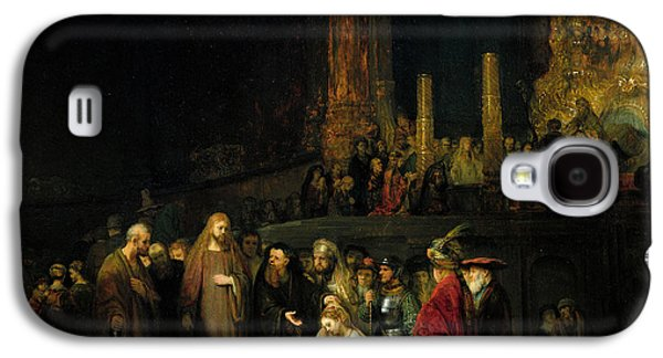 Temple Paintings Galaxy S4 Cases - The Woman taken in Adultery Galaxy S4 Case by Rembrandt