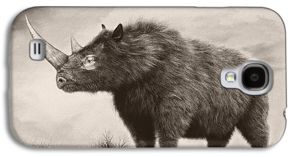 One Horned Rhino Galaxy S4 Cases - The Woolly Rhinoceros Is An Extinct Galaxy S4 Case by Philip Brownlow