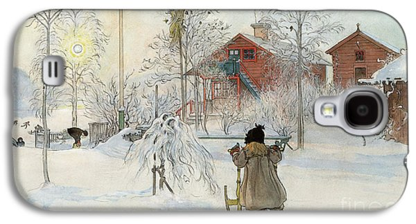 Countryside Paintings Galaxy S4 Cases - The Yard and Wash House Galaxy S4 Case by Carl Larsson