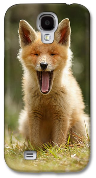 Fox Kit Galaxy S4 Cases - The Yawning Fox Kit Galaxy S4 Case by Roeselien Raimond