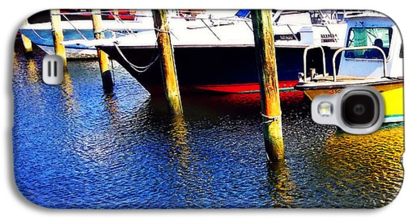 Docked Boat Galaxy S4 Cases - The Yellow Boat - Coastal Art By Sharon Cummings Galaxy S4 Case by Sharon Cummings