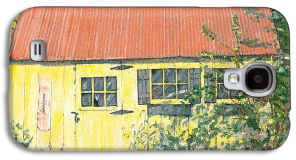 Shed Drawings Galaxy S4 Cases - The Yellow Shed Galaxy S4 Case by Elizabeth Martin