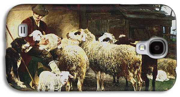 Sheep Digital Art Galaxy S4 Cases - The Young Shepherd Galaxy S4 Case by Heirich von Zugel