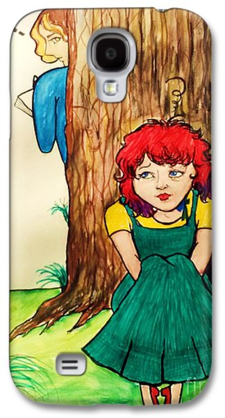Animation Paintings Galaxy S4 Cases - Their awkward meeting Galaxy S4 Case by Esther Rowden