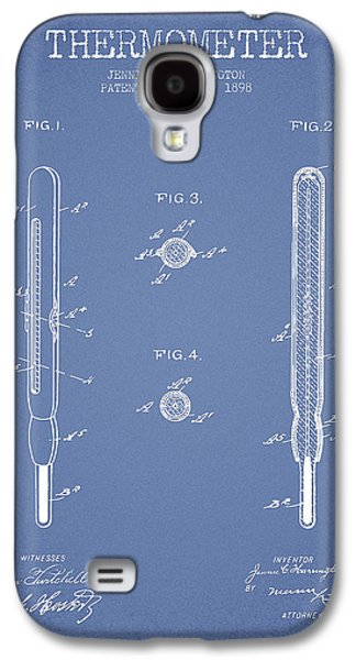 Temperature Galaxy S4 Cases - Thermometer patent from 1898 - Light Blue Galaxy S4 Case by Aged Pixel