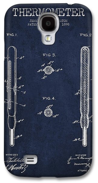 Temperature Galaxy S4 Cases - Thermometer patent from 1898 - Navy Blue Galaxy S4 Case by Aged Pixel