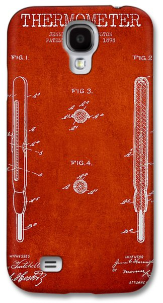 Temperature Galaxy S4 Cases - Thermometer patent from 1898 - Red Galaxy S4 Case by Aged Pixel