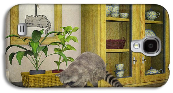 Raccoon Digital Art Galaxy S4 Cases - Thief Galaxy S4 Case by Jutta Maria Pusl