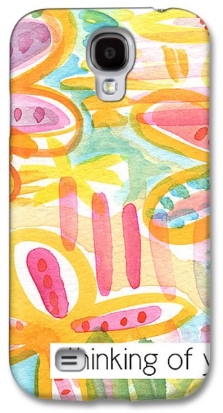 Thinking Galaxy S4 Cases - Thinking of You- Flower Card Galaxy S4 Case by Linda Woods