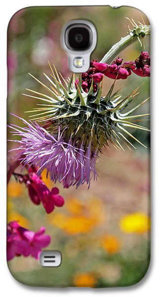 Green Galaxy S4 Cases - Thistle and Penstemon Galaxy S4 Case by Rona Black