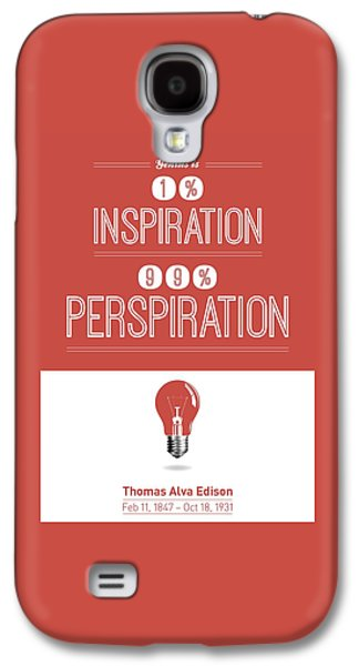 Framed Digital Galaxy S4 Cases - Thomas Alva Edison Quote typography print Galaxy S4 Case by Lab No 4 - The Quotography Department