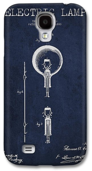 Edison Galaxy S4 Cases - Thomas Edison Electric Lamp Patent from 1880 - Blue Galaxy S4 Case by Aged Pixel