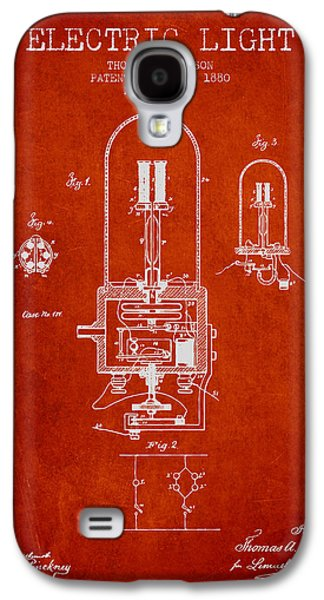 Light Bulb Galaxy S4 Cases - Thomas Edison Electric Light Patent from 1880 - Red Galaxy S4 Case by Aged Pixel