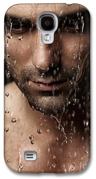 Thoughtful Man Face Under Pouring Water Galaxy S4 Case by Oleksiy Maksymenko