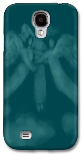 Angel Blues Drawings Galaxy S4 Cases - Three Angel Playing Among Clouds Galaxy S4 Case by Andreja Hotko Pavic