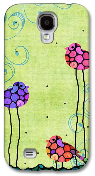 Animals Mixed Media Galaxy S4 Cases - Three Birds - Spring Art By Sharon Cummings Galaxy S4 Case by Sharon Cummings