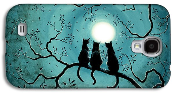 Grunge Galaxy S4 Cases - Three Black Cats Under a Full Moon Galaxy S4 Case by Laura Iverson