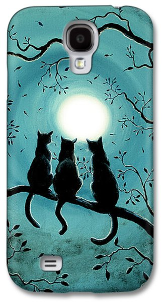 Fantasy Tree Paintings Galaxy S4 Cases - Three Black Cats Under a Full Moon Galaxy S4 Case by Laura Iverson