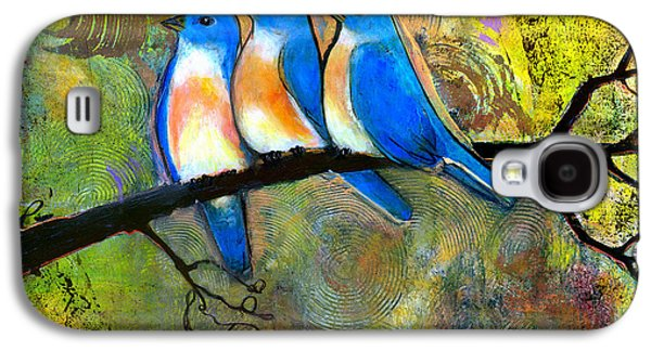 Picture Paintings Galaxy S4 Cases - Three Little Birds - Bluebirds Galaxy S4 Case by Blenda Studio