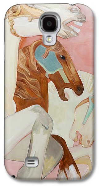 Carousel Horse Paintings Galaxy S4 Cases - Three Carousel Horses Galaxy S4 Case by Lynette Hinman