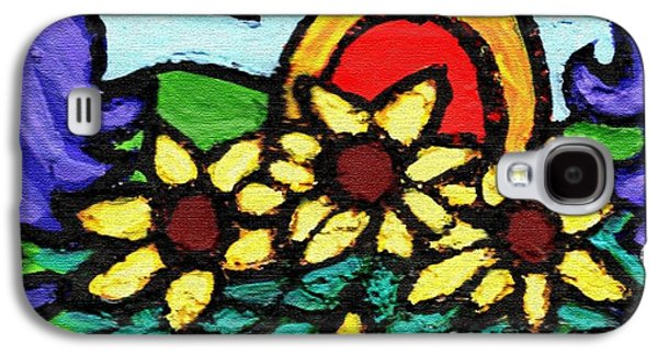 Green Reliefs Galaxy S4 Cases - Three Crows and Sunflowers Galaxy S4 Case by Genevieve Esson