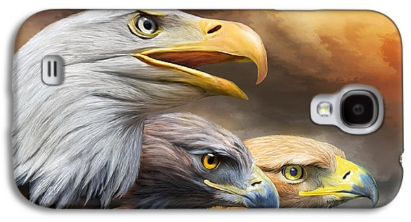 Eagle Mixed Media Galaxy S4 Cases - Three Eagles Galaxy S4 Case by Carol Cavalaris