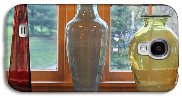Landscapes Glass Art Galaxy S4 Cases - Three Glass Vases in a Window Galaxy S4 Case by Karen Adams