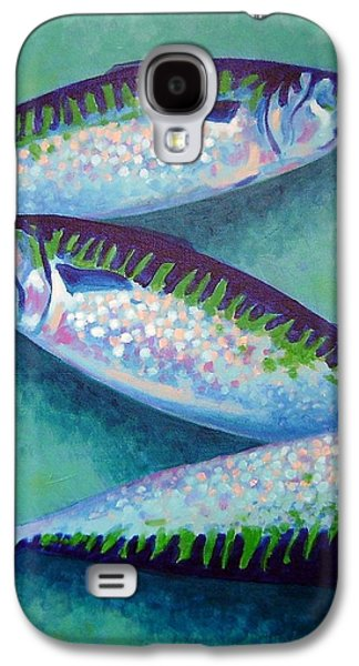 Salmon Paintings Galaxy S4 Cases - Three Mackerel Galaxy S4 Case by John  Nolan