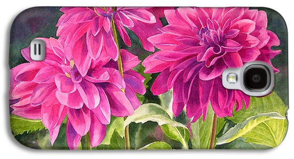 Fushia Galaxy S4 Cases - Three Magenta Dahlias Galaxy S4 Case by Sharon Freeman