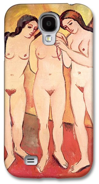 Nudes Paintings Galaxy S4 Cases - Three Naked Girls Galaxy S4 Case by August Macke