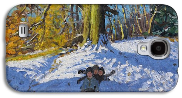 Sledge Galaxy S4 Cases - Three on a sledge Allestree Park Derby Galaxy S4 Case by Andrew Macara
