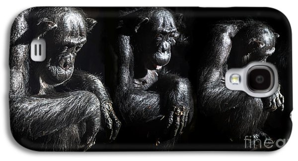 Contemplative Photographs Galaxy S4 Cases - Three pensive chimps Galaxy S4 Case by Sheila Smart
