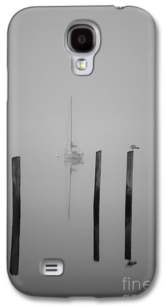 Sailboat Images Galaxy S4 Cases - Three Pilings and Sailboat Galaxy S4 Case by Dave Gordon