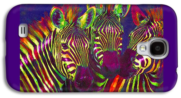 Zebra Digital Art Galaxy S4 Cases - Three Rainbow Zebras Galaxy S4 Case by Jane Schnetlage