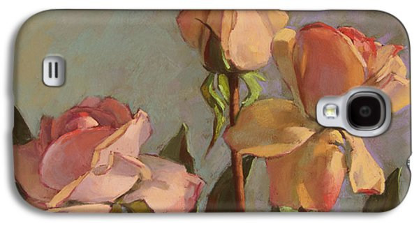 Still Life Pastels Galaxy S4 Cases - Three Roses Galaxy S4 Case by Sarah Blumenschein