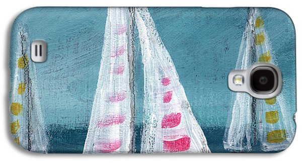 Abstract Landscape Mixed Media Galaxy S4 Cases - Three Sailboats Galaxy S4 Case by Linda Woods