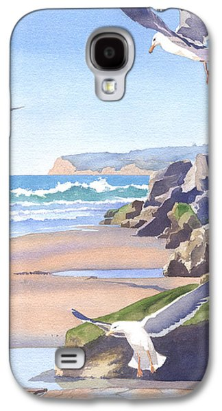 California Beaches Galaxy S4 Cases - Three Seagulls at Coronado Beach Galaxy S4 Case by Mary Helmreich
