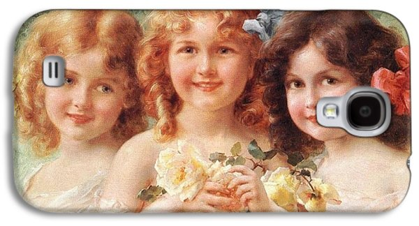 Puppies Digital Art Galaxy S4 Cases - Three Sisters Galaxy S4 Case by Emile Vernon