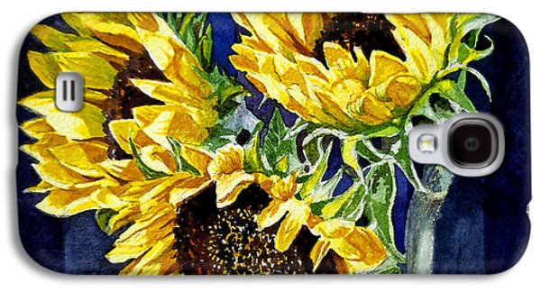 Sunflower Paintings Galaxy S4 Cases - Three Sunny Flowers Galaxy S4 Case by Irina Sztukowski