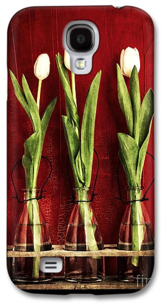 Water Jars Galaxy S4 Cases - Three White Tulips Floral Galaxy S4 Case by Edward Fielding