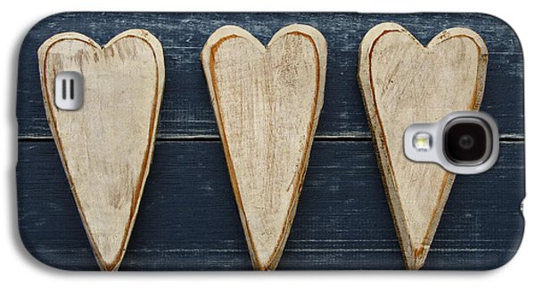 Folk Photographs Galaxy S4 Cases - Three Wooden Hearts Galaxy S4 Case by Carol Leigh