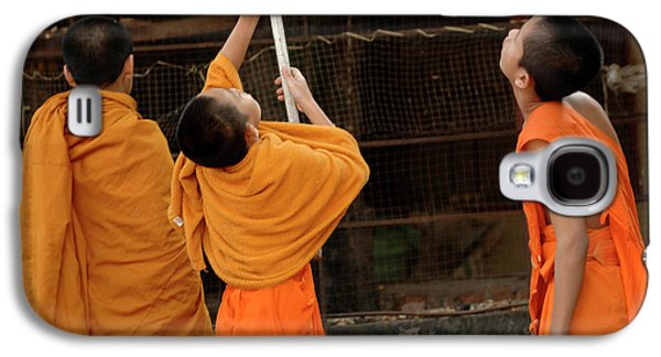 Buddhist Monk Galaxy S4 Cases - Three Young Monks Laos Galaxy S4 Case by Bob Christopher