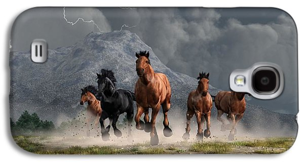 Stampede Digital Art Galaxy S4 Cases - Thunder on the Plains Galaxy S4 Case by Daniel Eskridge