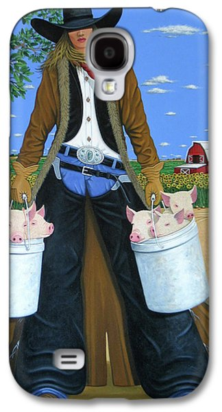 Piglets Paintings Galaxy S4 Cases - Tickled Pink Galaxy S4 Case by Lance Headlee