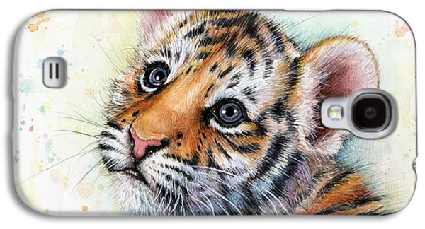 Drawing Galaxy S4 Cases - Tiger Cub Watercolor Art Galaxy S4 Case by Olga Shvartsur