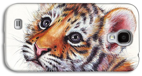 Tiger Galaxy S4 Cases - Tiger Cub Watercolor Painting Galaxy S4 Case by Olga Shvartsur