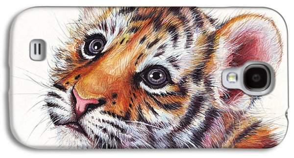 Cubs Galaxy S4 Cases - Tiger Cub Watercolor Painting Galaxy S4 Case by Olga Shvartsur